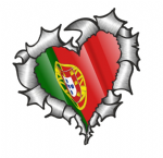 Ripped Torn Metal Heart with Waving Portugal Poruguese Country Flag Motif External Car Sticker 105x100mm